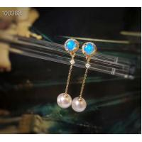 Wholesale Women Real Gold Earrings With White Seawater Pearls , Yellow Gold Jewelry from china suppliers
