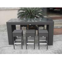 Wholesale Resin Wicker Bar Set , Dark Brown Rattan Conservatory Furniture from china suppliers