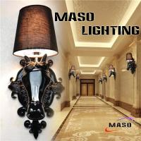 Wholesale Maso Contemporary Style Horse Head Resin Wall Lamp With Fiber Cover 260*680mm Black Plated Black White Color Optional from china suppliers