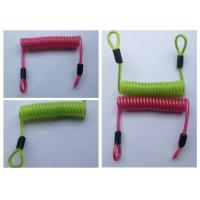Quality Green / Red / Black PU Coated Coil Spring Lanyard Loops Both Sides for sale
