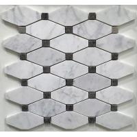 Wholesale White And Grey Slate Stone Mosaic Tile Diamond Carrera Venato Marble Black Dots Polished from china suppliers