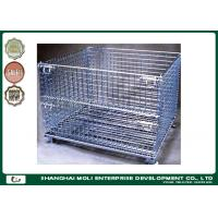 Wholesale Folding wire storage bins industrial collapsible metal storage crate with wheels from china suppliers