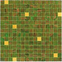 Wholesale Green tile with real gold 20mm glass mosaic mix patter decoration from china suppliers