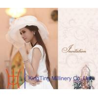 Wholesale Customized White Organza Hats  , Womens Vintage Hats For Party from china suppliers