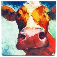 "Wholesale 22"" x 22"" Square Colorful Decorative Wall Hand Painted Canvas With Big Cow from china suppliers"