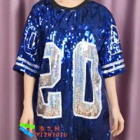 Wholesale Blue Sequin Tee Shirt Dress Sorority Stage Performance Clothing Number 20 from china suppliers