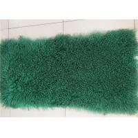 Wholesale Dark Green Dyed Mongolian Lambskin Throw Blanket 60 X120cm Soft With Long Hair from china suppliers
