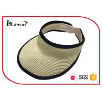 Buy cheap Light weight paper natural visor cap Wide Brimmed Straw Hat with black bound edge from wholesalers