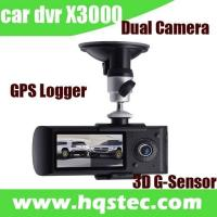 Wholesale 2-channel Car DVR Car Black Box with Dual Camera GPS Tracker 3D G-sensor and  LCD HQS-X3000 from china suppliers