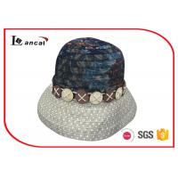 Wholesale Cotton Printed Wide Brimmed Straw Womens Summer Hats With Decorative Hatband from china suppliers