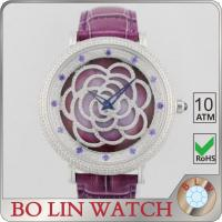 Wholesale Flower Dial Colored Leather Diamond Quartz Watch Japan Movt Super Luminova from china suppliers