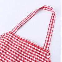Quality Checker Pattern Adjustable Canvas Cotton Kitchen Apron with Yarn-dyed Fabric for sale