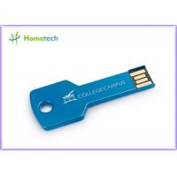 Wholesale Blue / Green Metal Key Shaped USB Flash Drive Customized Logo from china suppliers