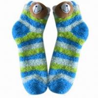Wholesale Children's Warm Cozy Yarn Socks with Cute Bear and Customized Materials/Designs/Sizes/Colors from china suppliers