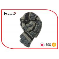 Wholesale 100% Wool Knitted Hooded Scarf Grey Stripe Crochet Scarves For Women from china suppliers