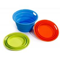 Wholesale ODM / OEM Green Silicone Collapsible Bucket , Silicone Fruit Bucket BPA Free from china suppliers