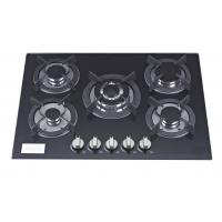 Wholesale 5 Burner Black Glass Top Gas Hob 70cm With Stainless Steel Water Dish from china suppliers