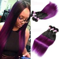 Wholesale Peruvian Straight Hair 7A Ombre Human Hair Extensions 1B / Purple Color from china suppliers
