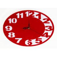 Wholesale Gift Acrylic Ultra Thin Circle Clock Red Wall Sticker Clock Classical Style from china suppliers