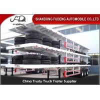 Wholesale 40ft container carry flatbed truck trailer Air suspension super single tire for Tanzania from china suppliers