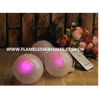 Wholesale LED Battery Operated Glass Ball with On / Off Remote Control Flameless Candles 8 X 11 CM from china suppliers