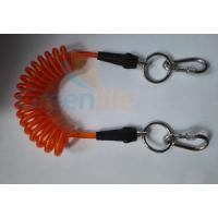 Wholesale Orange Plastic Core Detachable Elastic Coil Cord W/Stainless Steel Ring&Karabiner from china suppliers