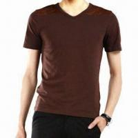 Wholesale Shammy Joint Slim V-neck T-shirt for Men, Comes in Fashionable Design from china suppliers