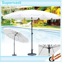 Wholesale White 9 Foot Patio Market Umbrella / Fiberglass Parasol Outdoor Umbrella for Beach from china suppliers