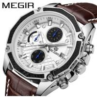 Wholesale MEGIR Fashion Racing Men Chronograph Multifunction Leather Strap Waterproof 30m Quartz Wrist Watches 2015G from china suppliers