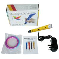 Wholesale Portable Smallest 3D Printer Pen  with Power Adapter + ABS Filament yellow from china suppliers