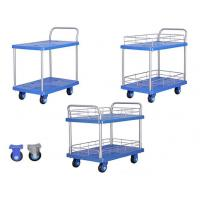 Wholesale Hand Pushing Folding Storage Cart Double Layer For Warehouse / Supermarket Use from china suppliers