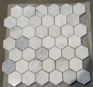 "Quality Carrara white hexagon  mosaic tile 3"" for sale"