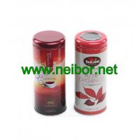 Quality 20 sachets 40g round tea tin container with clear window for sale