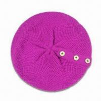 Wholesale Women's Knitted Beret, Decorated with Buttons, Customized Designs are Accepted from china suppliers