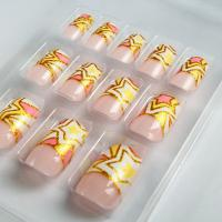 Wholesale Gold Star French Manicure Fake Nails decorated with geometric pattern from china suppliers