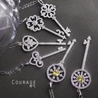 Wholesale Tiffany 925 Silver inlaid cubic zirconia key pendant necklace (a variety of optional) from china suppliers