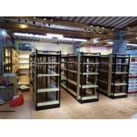 Wholesale Supermarket Industrial Pallet Racks Metal / Wood Display Shelving Double Sided from china suppliers