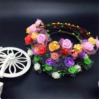Wholesale Flower Little Girls Bohemian Floral Headbands Party Wedding Hair Wreaths Hair Band from china suppliers