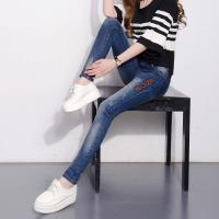 Wholesale Durable Dark Blue Womens Slim Straight Leg Jeans Mid Waist Slim Fit from china suppliers