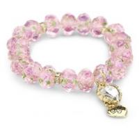"""Wholesale free shipping Betsey Johnson """"Tzarina Princess"""" Pink Flower Bead Stretch Bracelet from china suppliers"""