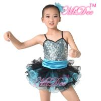 Wholesale Sequin Top Two Colour Pleated Tulle Skirt Spandex Kids Dance Clothes from china suppliers