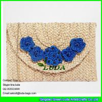 Wholesale LUDA flower power straw handbags paper straw clutch hand bags from china suppliers