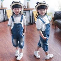 Wholesale Light Wash Short Overalls Jeans For Children , Soft Organic Cotton Baby Clothes from china suppliers