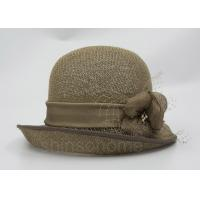Buy cheap Fashionable Brown Mesh Bucket Beret Hat For Lady , Floriation Logo With Ribbon from wholesalers
