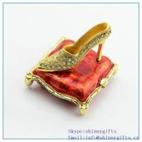 Quality Enamel handmade metal trinket box with high-heeled shoes shape jewelry box for sale