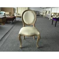 Quality Classic Oak Fabric Dining Chairs French Vintage Upholstered Fabric Side Chair for sale