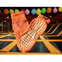 China Polyester Anti Slip Trampoline Safety Socks , Orange Breathable Socks With Rubber Soles for sale