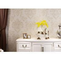 Wholesale Eco - friendly Embossed Vinyl Wall Coverings , Silver Damask Pattern Wallpaper from china suppliers