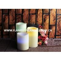 Wholesale Ivory Wax Melted Edge Unscented LED Flameless Candles / Color Changing Pillar Candle from china suppliers