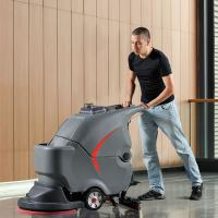 Compact cordless commerciall walke behind floor scrubber dryer